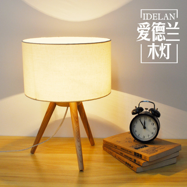 TUDA 25X37cm Free Shipping Creative Tripod Table Lamp Willow Wood Art Table  Lamp Modern Minimalist Triangle