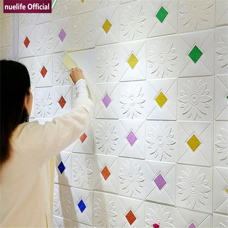 3d geometric pattern soft package wallpaper restaurant kitchen study living waterproof anti-collision bedroom foam wall stickers