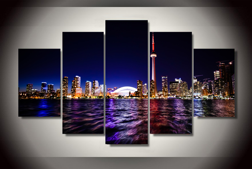 Hd Printed Downtown Toronto 5 Piece Picture Painting Wall