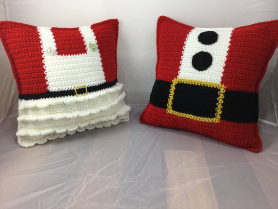 ФОТО Mr and Mrs Claus Crochet Pillow  decorate home baby use