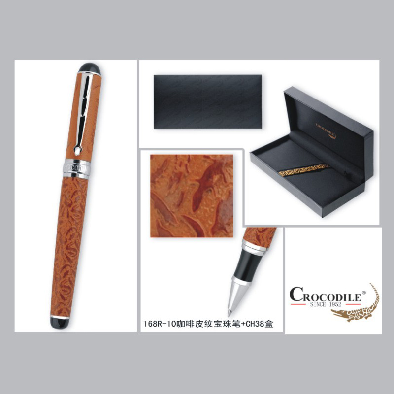 Crocodile 168 Coffee Crocodile Leather and Silver Clip Metal Roller Ball Pen Luxury Gift Ballpoint Pens with 0.7mm Black Refill black jinhao ballpoint pen and pen bag school office stationery brand roller ball pens men women business gift send a refill 013