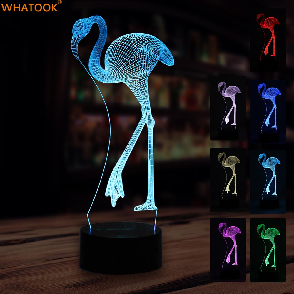 Flamingo LED Night light 3D Lampe Acrylic 7 Colors Changing Novelty Touch USB Table Lamp for Home Bedroom Beside Night Light 3d luminous ice hockey player shape led table lamp 7 colors changing home living room decor light fixture baby sleep night light