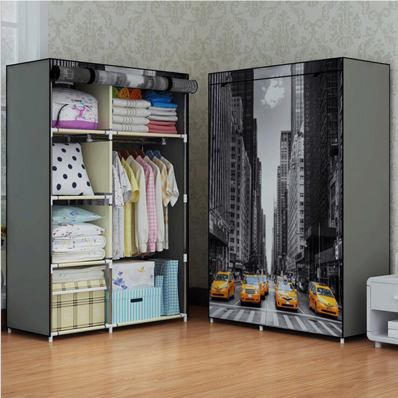 Attractive COSTWAY Bedroom Print Non Woven Wardrobes Cloth Storage Saving Space Locker  Closet Sundries Dustproof Storage Cabinet W0102 In Wardrobes From Furniture  On ...