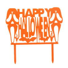 Happy Halloween Cake Flags Skull Bat Orange Acrylic All Saint's Day Cake Toppers Halloween Party Cake Decoration Supplies цена 2017
