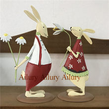 45% off,Red Shy Cute Tin Rabbit,Double-sided Three-dimensional,Holding Flowers,Wedding Ornaments,Window Home Decoration