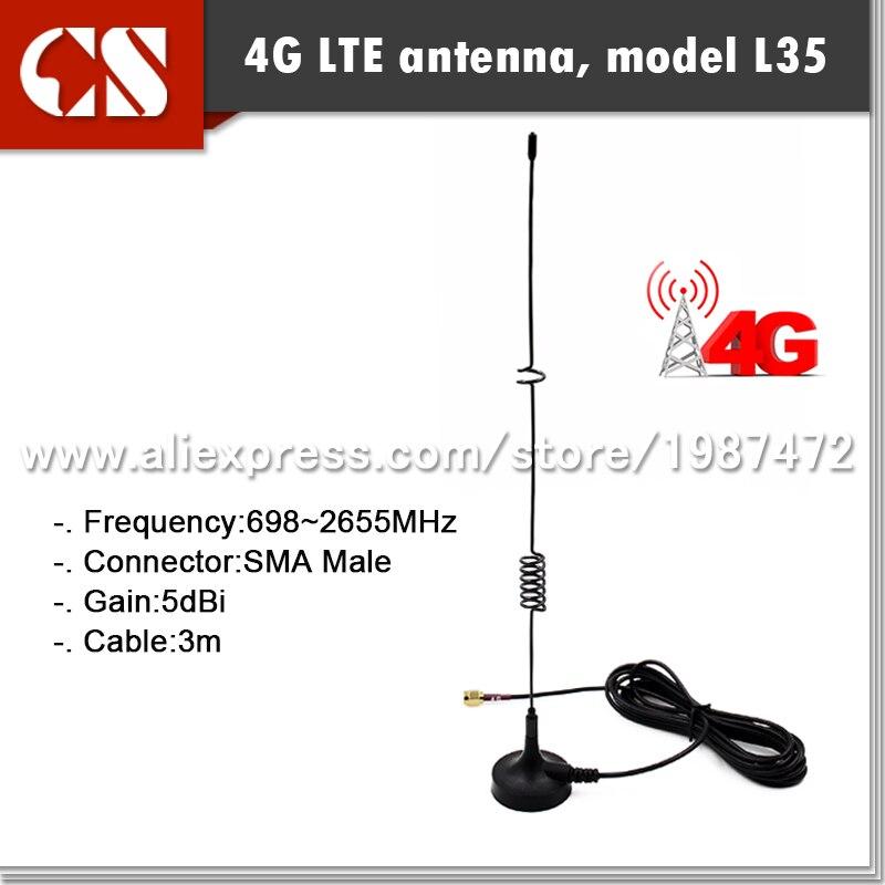 imágenes para 4G Lte Antena Magnética, Huawe módem antena SMA MACHO conector HUAWE E586 módem E3131 E589 MF80