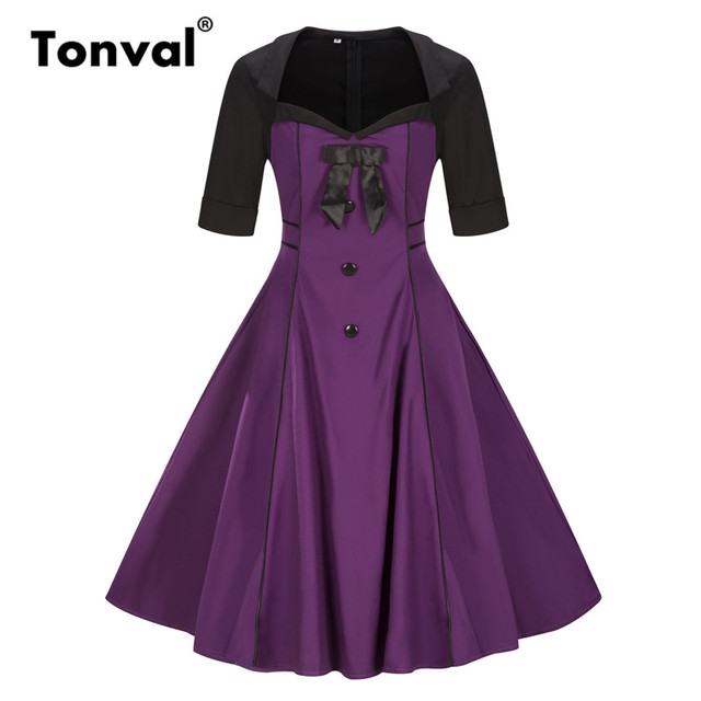 Tonval Vintage Buttons Plus Size Purple Dress Women Bow Elegant Half Sleeve  2017 Autumn Winter Hepburn Style Dresses 503c5cb833da