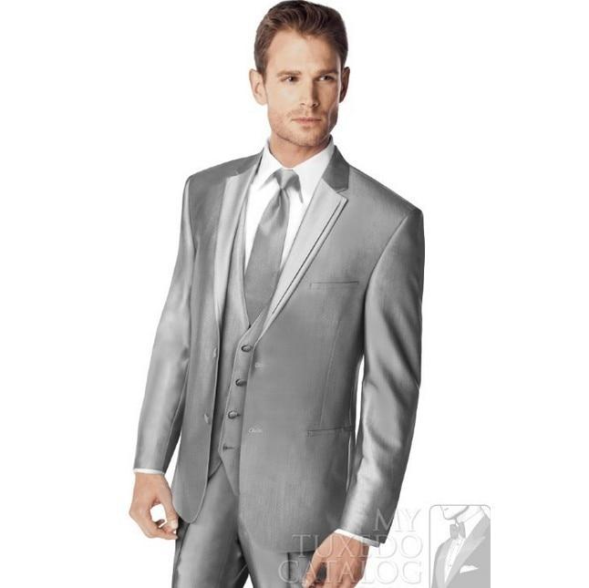 2015 New Fashion Silver 2 Buttons Men\'s Suit! business Dress ...