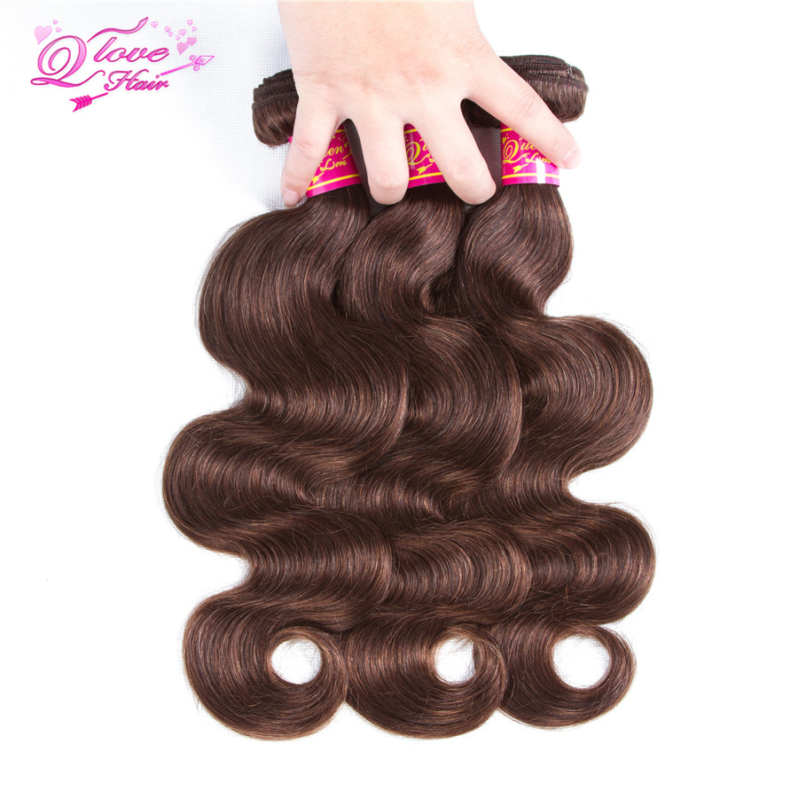 Queen Love Hair Pre-Colored Mongolian Body Wave 3 Bundles 10-26 inch 100% Human Hair 3 Bundles Non Remy #4 Free Shippin