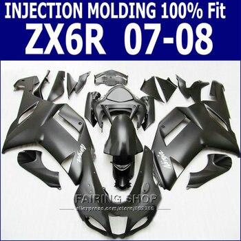 zx6r 2007 2008 Fairing kit For Kawasaki Ninja zx-6r 07 08 Injection Fairings in (Matte black +Ems free) S19