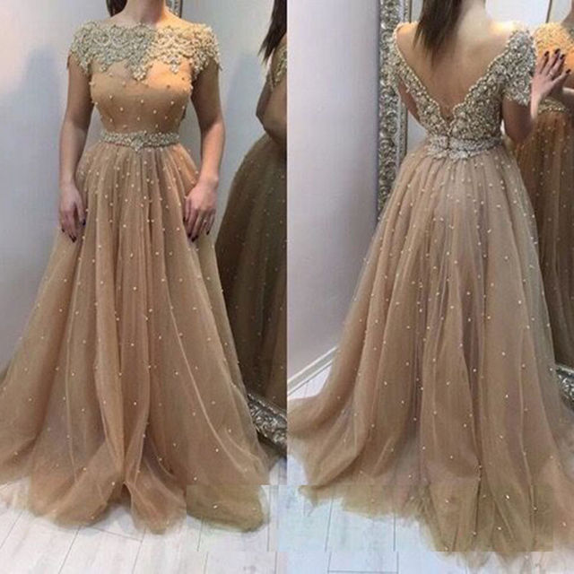 Arabic Evening Gowns Dresses A Line Boat Neck Low Back Floor Length ...