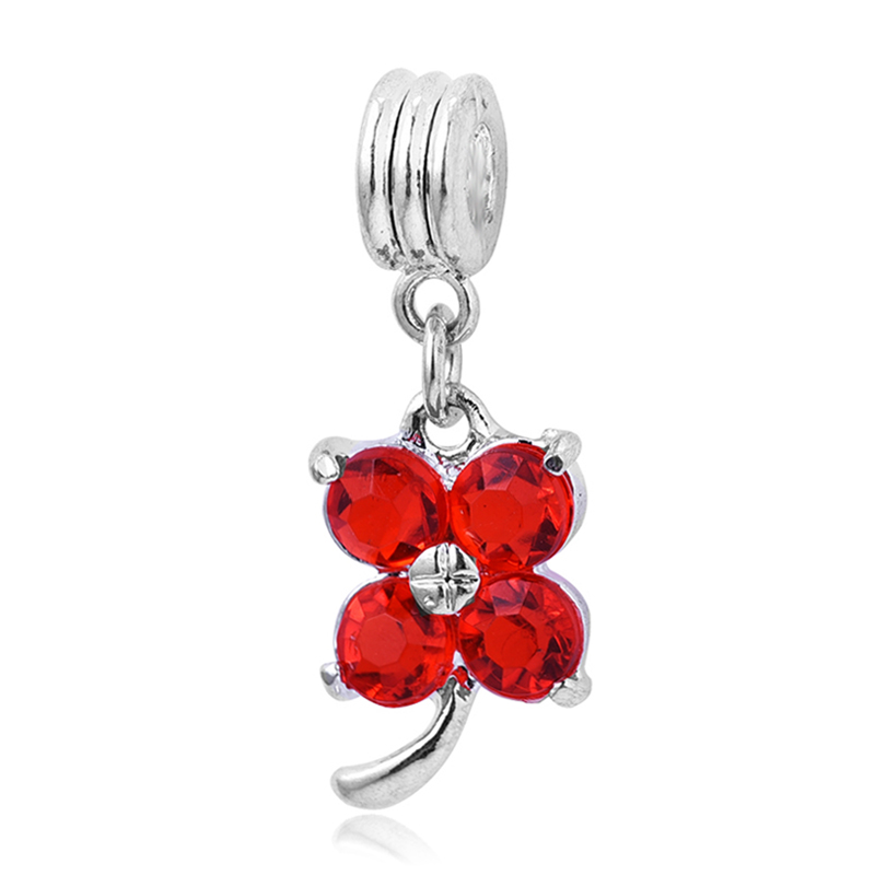 Free shipping 1pc silver dangle red crystal&rhinestone charms hanging bead fit pandora charms bracelets