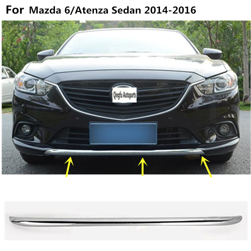 Cover ABS Chrome trims Front bottom Grid Grill Grille Around edge lamp frame Sticks 1pcs for Mazda 6/Atenza Sedan 2014 2015 2016 антифриз zero propylen оранжевый 3 л