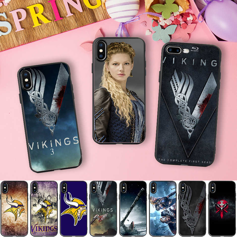 Minason Vikings Tv Series Black Soft Silicone Phone Case for iPhone X 5 S 5S 6 6S 7 8 Plus 7plus 8plus Cover Capinhas de Celular