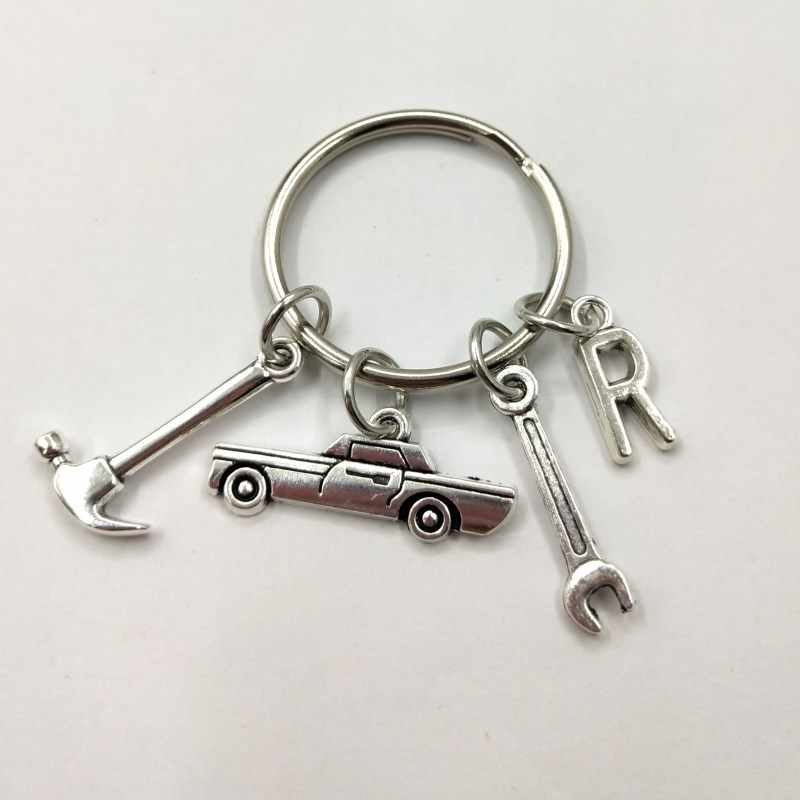 Mechanic Keychain Dad Initial Keychain Father's Day Gift letter A-Z Truck Keychain Truck Key Ring Car Truck Lover Gift