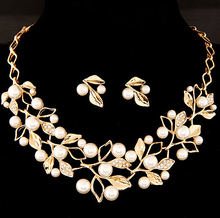 (Necklace+Earrings) SPX5620 Fashion Hot Sale Metal Alloy Leaf Jewelry Sets Necklace with Earrings wholesale