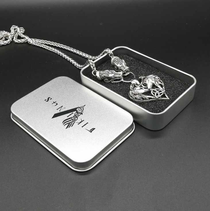 Антикварный серебряный дракон голова с двойным волком в форме сердца кулон ожерелье Викинг-Волк тоем амулет любовь ожерелье