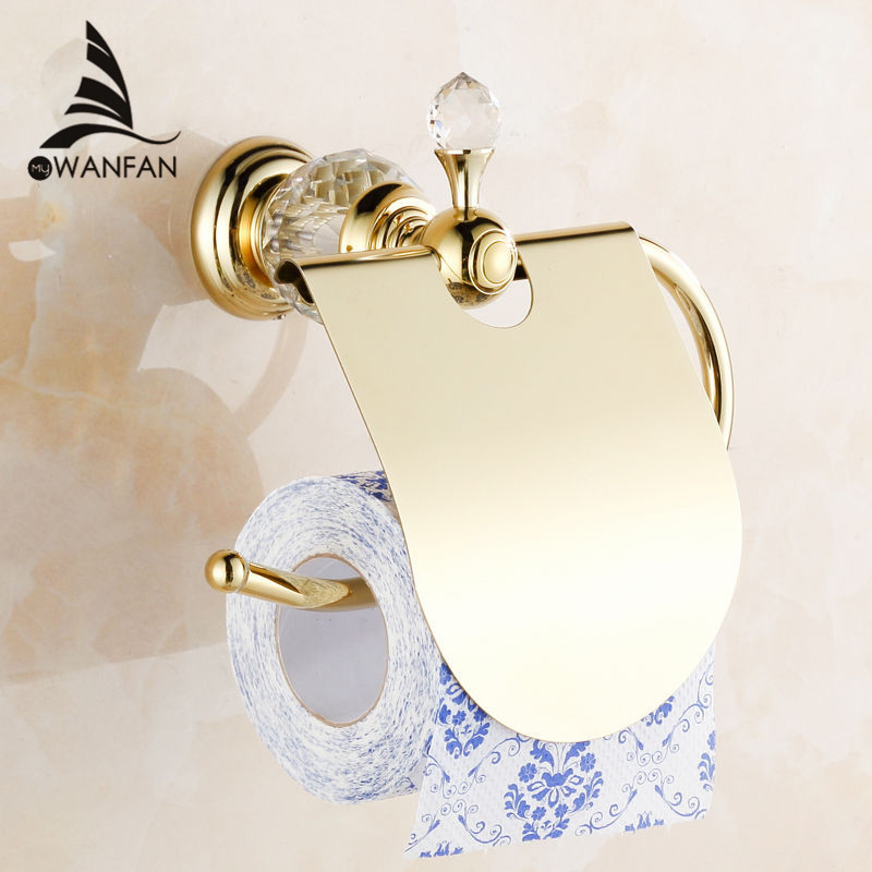 Paper Holders Crystal Solid Brass Gold Paper Roll Holder Toilet Paper Holder Tissue Holder Restroom Bathroom Accessories HK-40 paper holders antique solid brass toilet basket bath shelf shampoo storage wall mount bathroom accessories tissue holder hj 1317