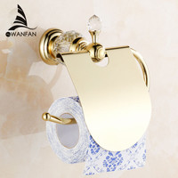 Luxury Crystal Brass Gold Paper Box Roll Holder Toilet Gold Paper Holder Tissue Box Bathroom Accessories