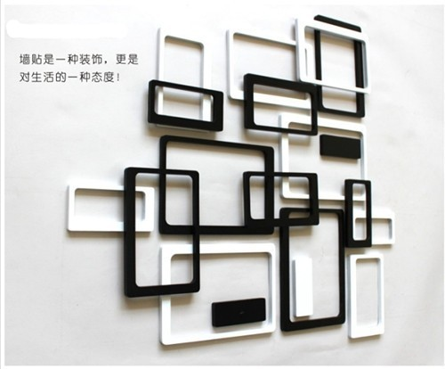 New year Wooden 3D wall stickers photo frame wall sticker home ...
