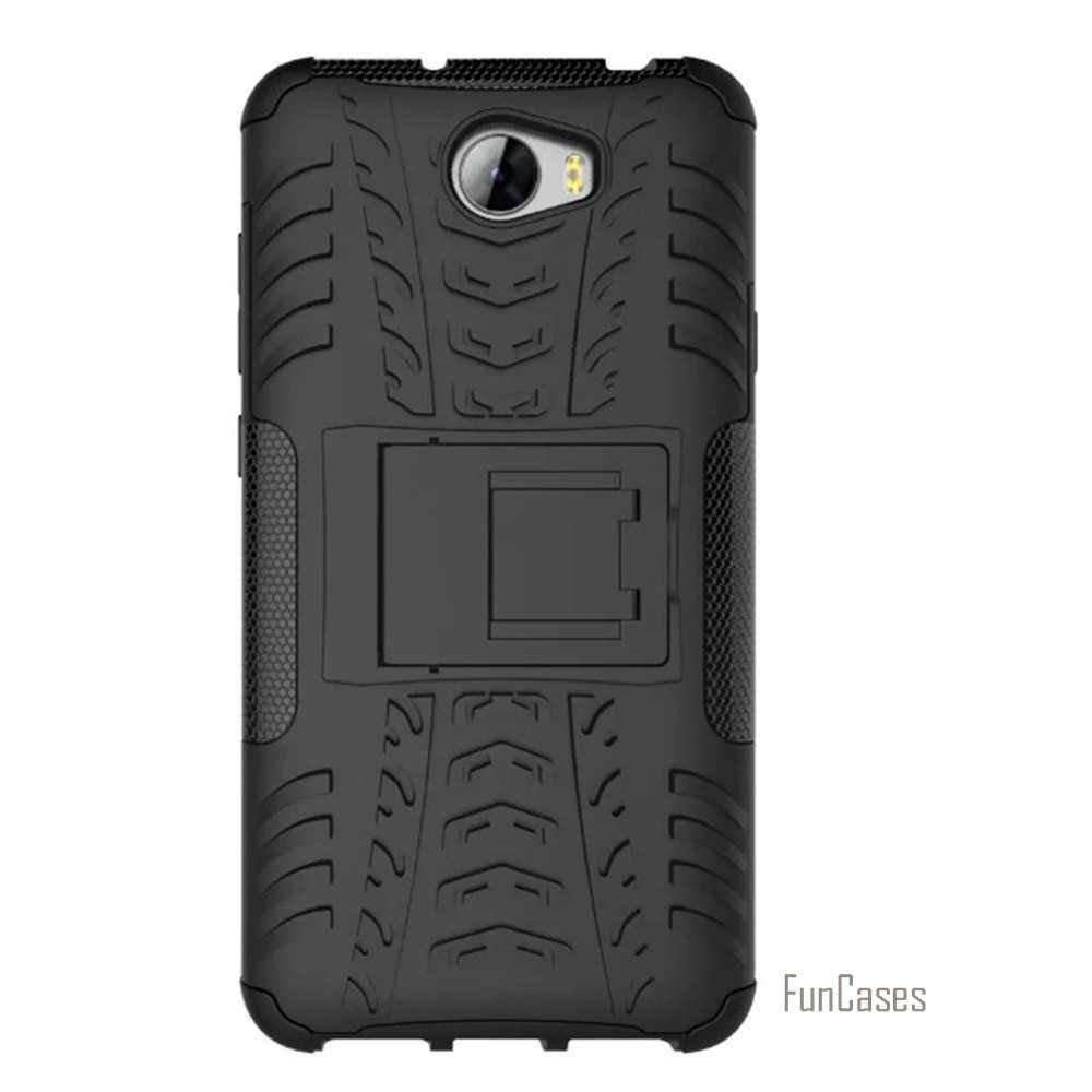 Per Huawei Y5 Ii Caso Duro di Plastica Anti-Knock Hybrid Armatura Copertura Posteriore Del Telefono Mobile Custodie per Huawei Y5 2 5.0 Pollici Borse Cavalletto
