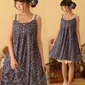 Japanese Women Sweet Cute Floral Print All Match Sleeveless Spaghetti Strap Soft Basic Bottom Female Dress Mori Girl Lolita C182
