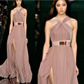 Off The Shoulder Sleeveless Dress 2016 New Arrival A-Line Chiffon Model Vestidos Split Side Halter Celebrity Dress 0811