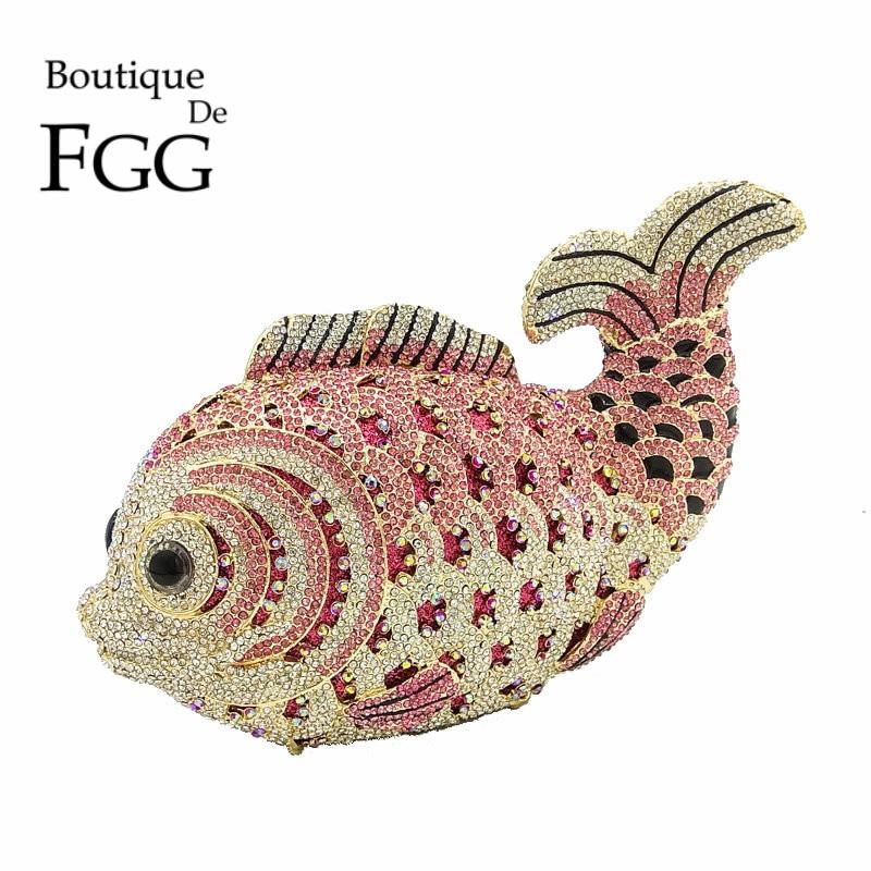 Boutique De FGG Multi Pink Crystal Diamond Women Fish Evening Clutch Bag Bridal Mini Metal Handbag