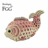Boutique De FGG Đa Hồng Tinh Thể Kim Cương Phụ Nữ Cá Evening Clutch Bag Nhỏ Cô Dâu trong Kim Loại Túi Xách và Ví Bộ Ly Hợp Đám Cưới