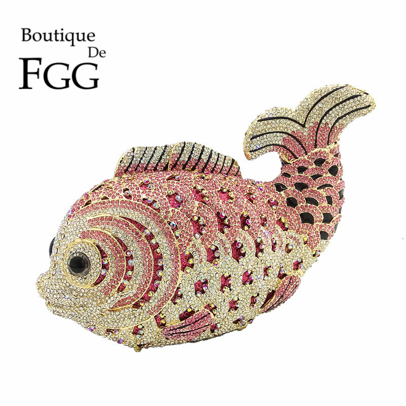 Boutique De FGG Multi Pink Crystal Diamond Women Fish Evening Clutch Bag Bridal Mini Metal Handbag and Purse Wedding Clutches boutique de fgg hot pink fuchsia crystal diamond women evening purse minaudiere clutch bag bridal wedding clutches chain handbag