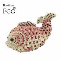 Boutique de FGG multi Розовый С кристалалми и стразами Для женщин рыбы Вечерний Клатч Свадебная Мини Металл Сумочка и Кошелек Свадьба Клатчи