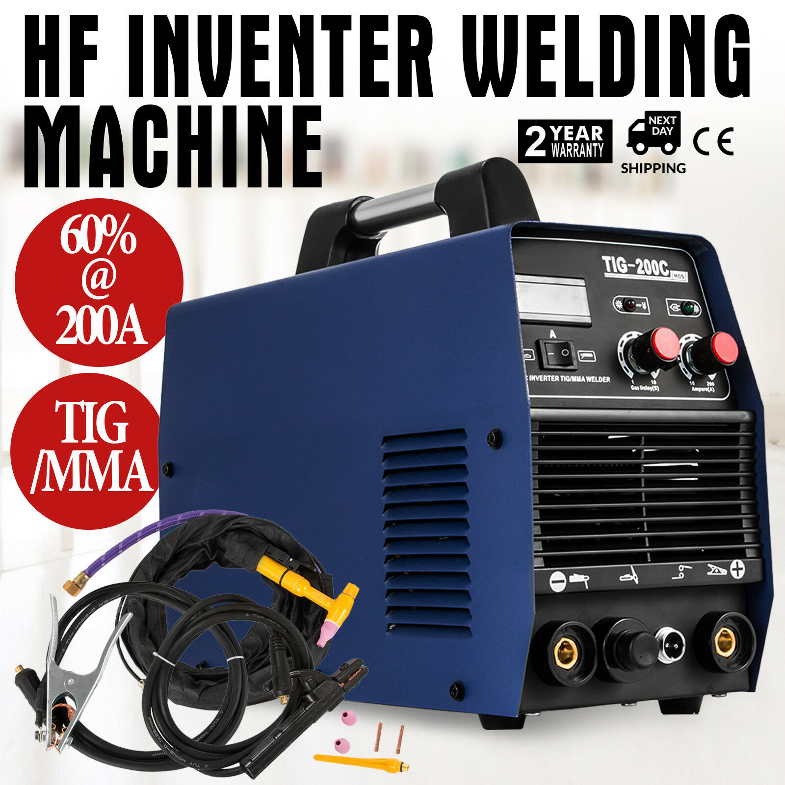 TIG welding machine <font><b>200</b></font> Ampere - IGBT <font><b>inverter</b></font> TIG MMA DC E-Hand HF-ignition 230 V image