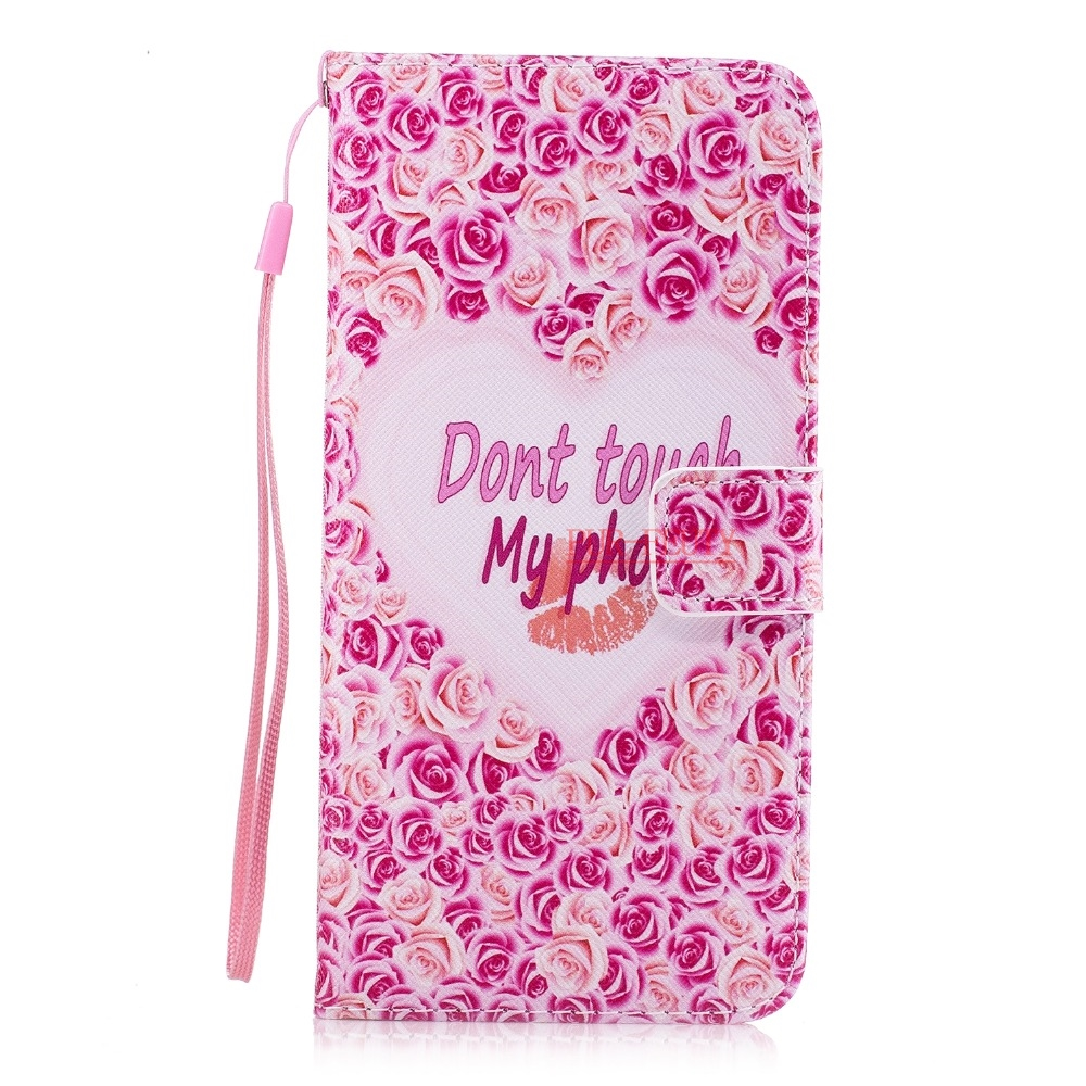 For Coque Apple iPhone 7 7S I7 case Pink Plum PU Leather mobile phone Silicone cover case sFor flip Apple iPhone 7 Plus I 7 plus