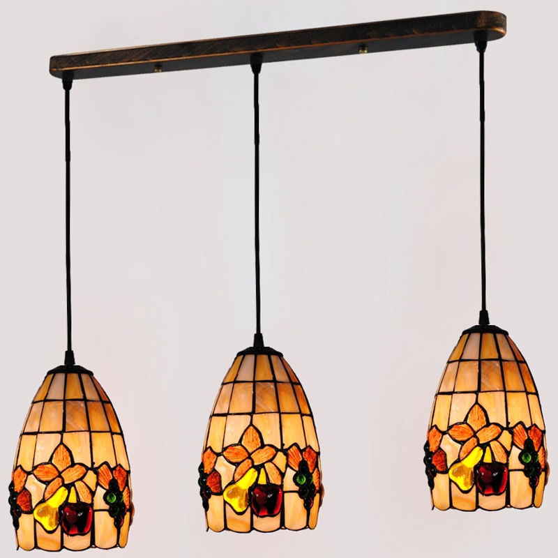 Retro Tiffany 3 Lights Stained Glass Pendant Lamp European Pastoral Shell Bar Coffee Suspension Light Lighting E26/E27 PL586 tiffany mediterranean style natural shell pendant lights art creative stained glass night light bar balcony home lighting pl657