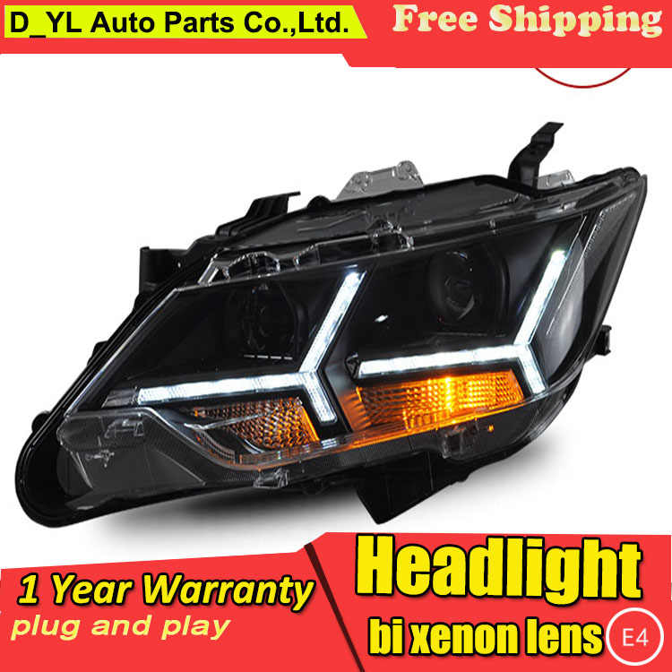 D_YL Car Styling for Toyota Camry Headlights 2015 Camry LED Headlight DRL Lens Double Beam H7 HID Xenon bi xenon lens