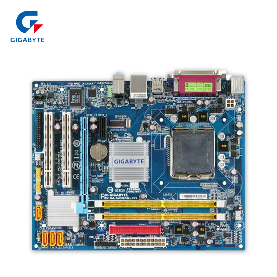 Gigabyte GA-945GCM-S2L Original Used Desktop Motherboard 945GCM-S2L 945GC LGA 775 DDR2 4G SATA2 Micro ATX  original motherboard for gigabyte ga 945gcm s2 lga 775 ddr2945gcm s2 945gc desktop motherboard free shipping