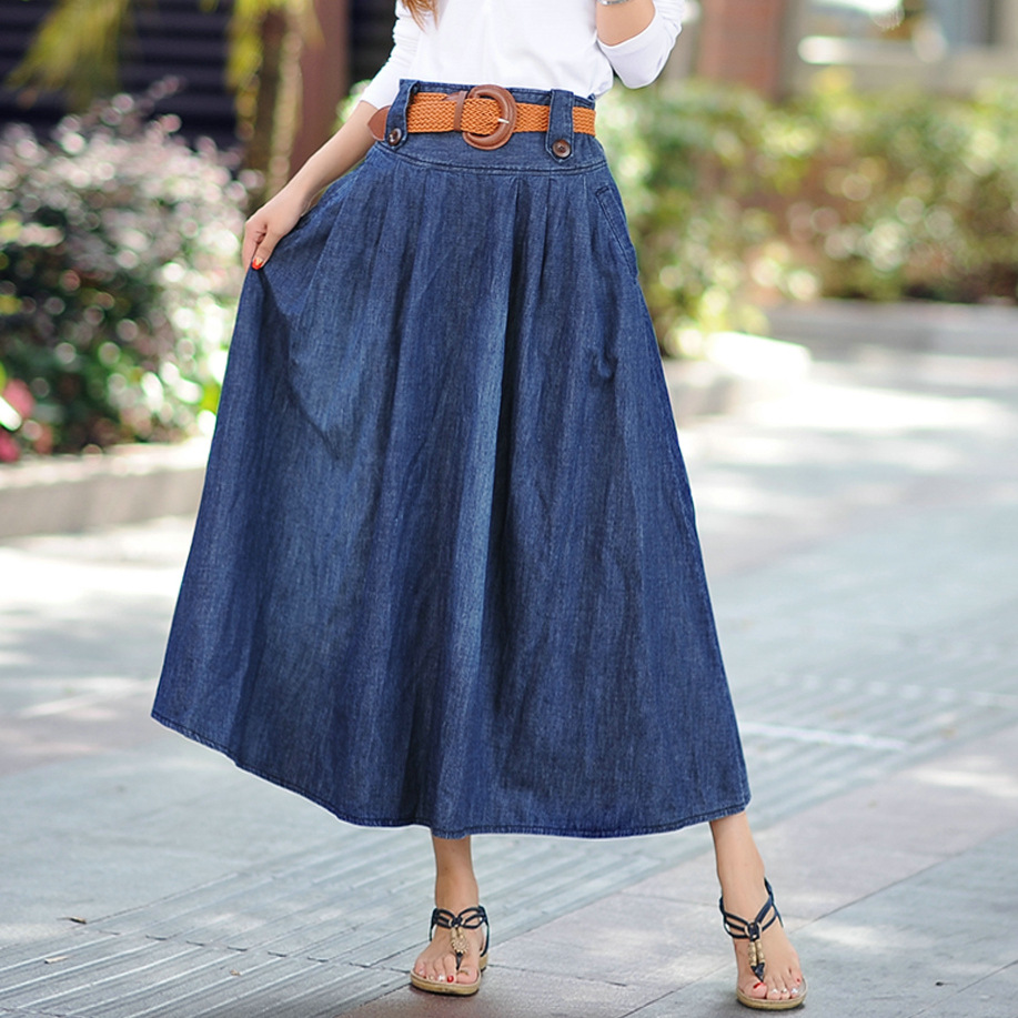 2019 Summer New Arrival Long Jean Skirt Large Pendulum Plus Size Elegant Long Denim Skirt With Sash 6XL Available Free Shipping