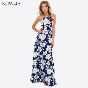 ROPALIA Print Maxi Boho Summer Slip Dresses Beach Long