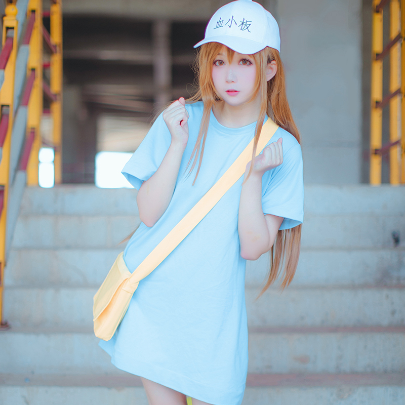 Anime Cell At Work Cosplay Blood Platelet Cosplay Costumes For Halloween Working Cell Full Set Shirt+Shorts+Hat+Bag