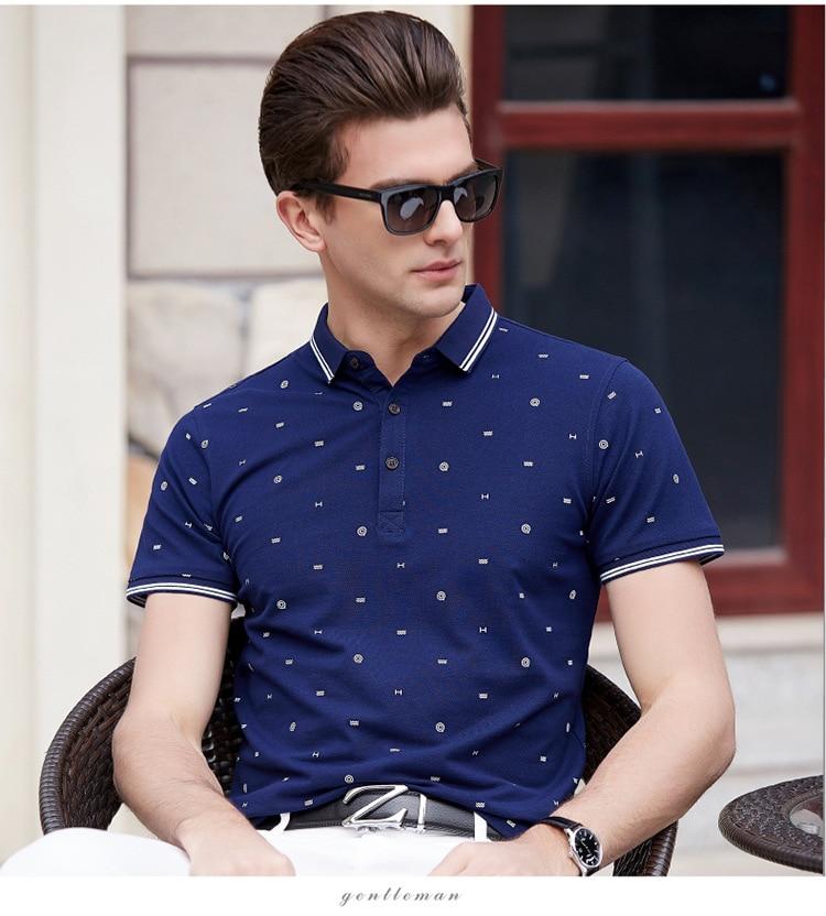 2019 mens   polo   shirt brands lapel fashion summer men   polo   shirt printed lapel short sleeve 100% Cotton man   polo     Polos   Man homme