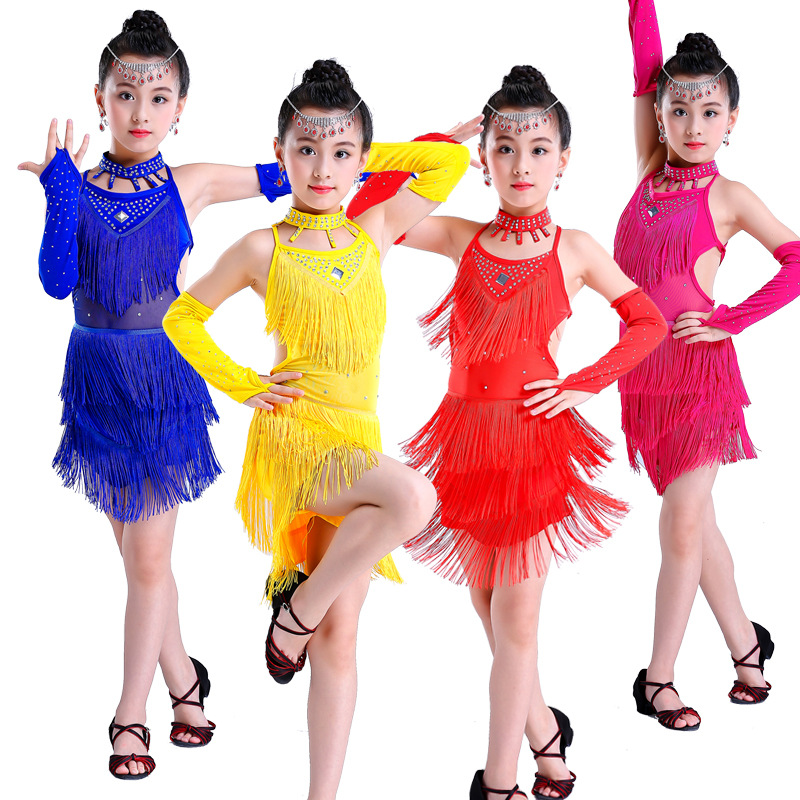 girls Latin Dance Dress Childrens New tassels Segment Set with diamonds dance dress Suit JQ-335