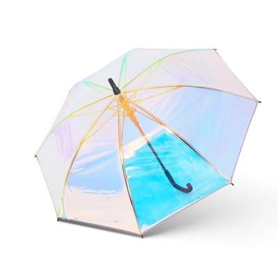 Plastic PVC Holographic Umbrella Fashion Rain Sunshade Long Handle Transparent Umbrella hatsune miku winter plush doll