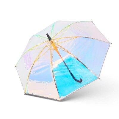 Plastic PVC Holographic Umbrella Fashion Rain Sunshade Long Handle Transparent Umbrella