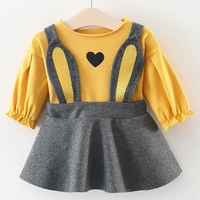dress and t shirt long sleeve set baby girl infant toddler kids clothes for spring autumn cartoon cat bunny 6 9 12 18 months