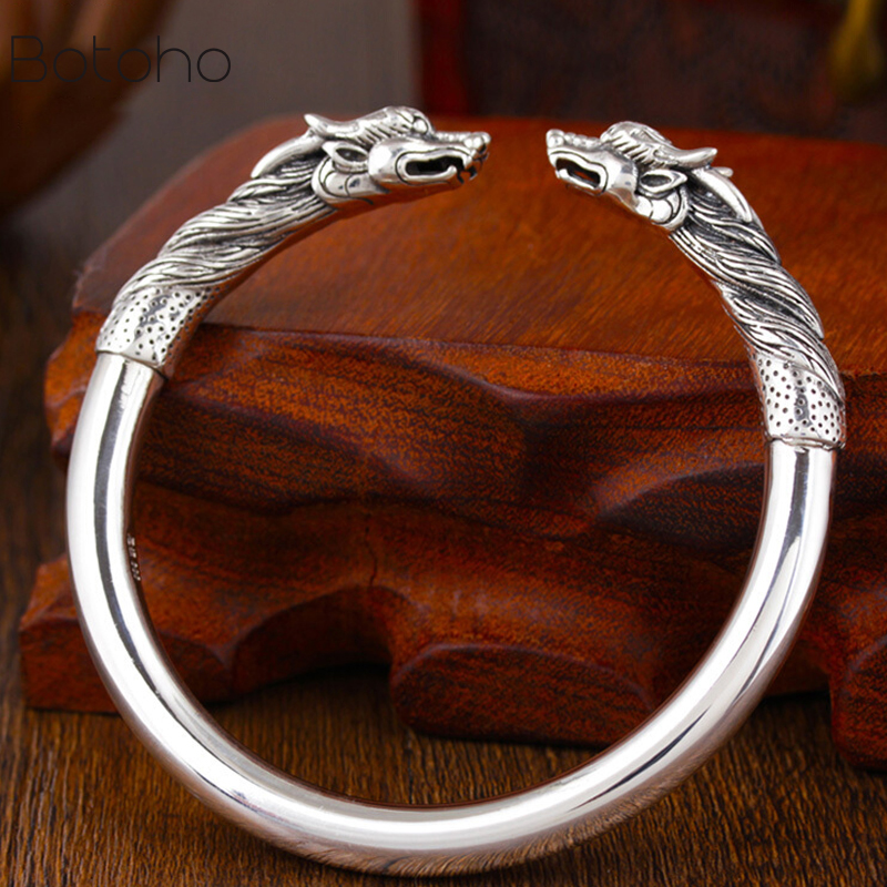 New Handmade 100% 990 Siver Dragon men Bangle bracelet Real Pure Silver Power Dragon Bangle Vintage Sterling Silver Jewelry Gift