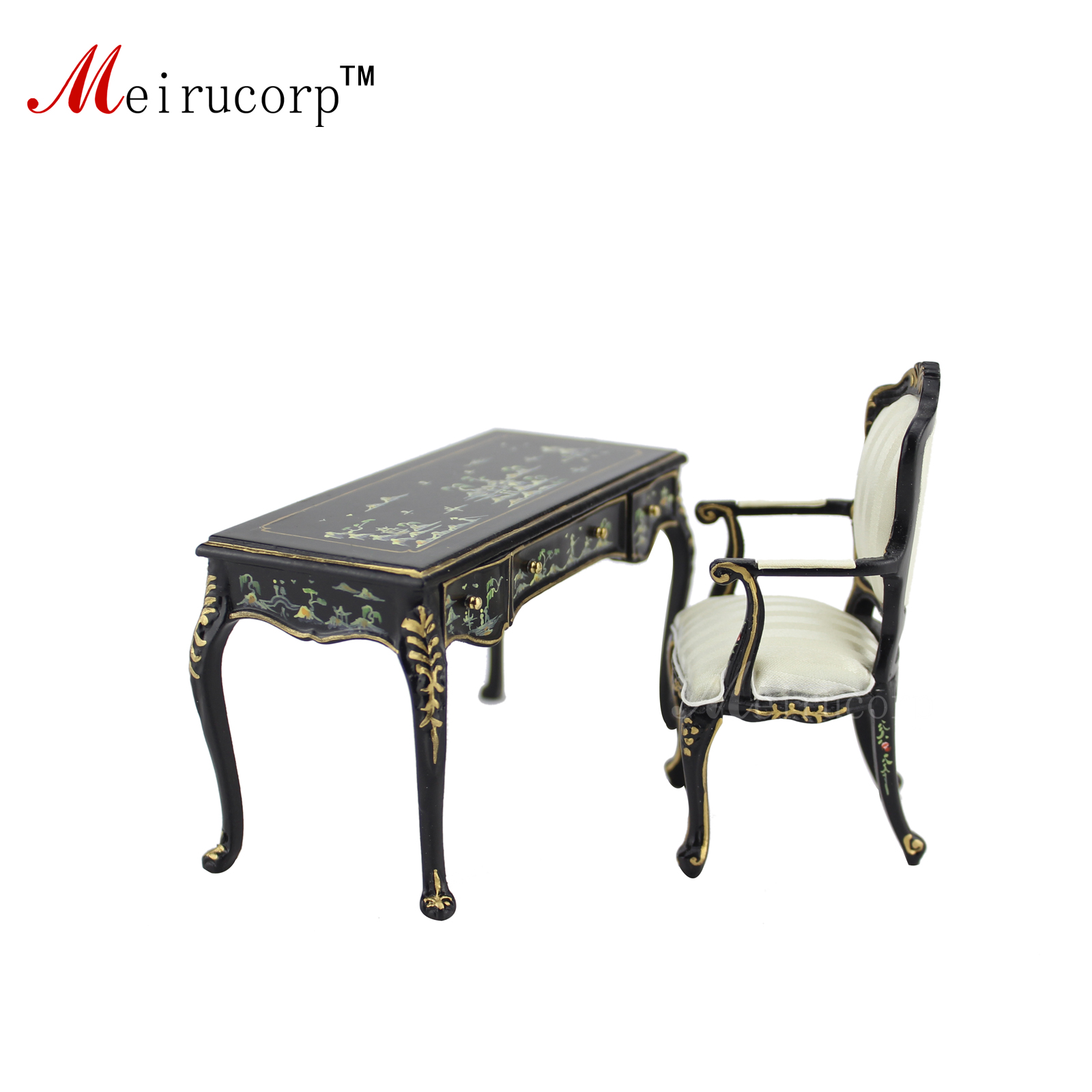 Dollhouse 1:12 scale Miniature Hand painted landscape painting Desk and chairDollhouse 1:12 scale Miniature Hand painted landscape painting Desk and chair