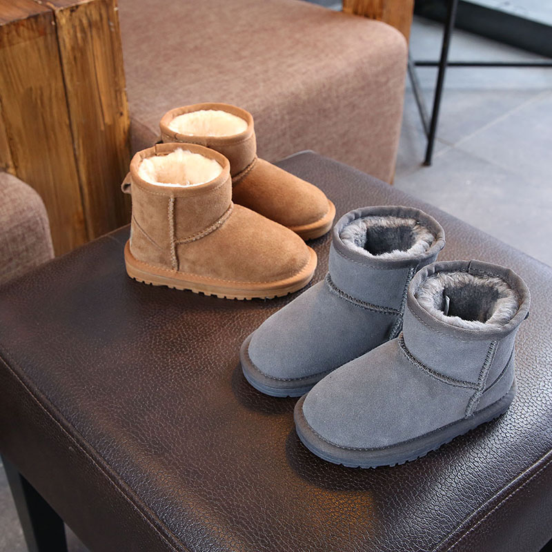 XDXUGG 2018 Snow Boots Kids Winter Genuine Leather Boots For Girls Boys New Fur Buckle Shoes Children Boots With Fur Warm Botas