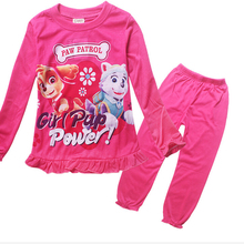 2pcs Set 2016 New Style Girls Pink Red Cotton Pajama Sets Patrol Kid Childrend 2 7Y