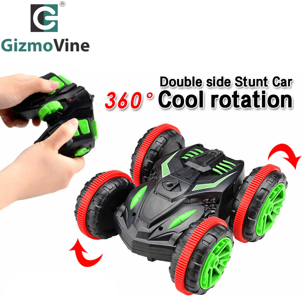 GizmoVine Rc Car 2.4Ghz 1/18 4WD Remote Control Car Amphibious Vehicle Double-Sided Stunt Car Scale 360 degree cars toys