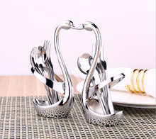 Swan Base Holder With Fruit/ Dessert Fork/Cake/ Coffee Spoon Set Pastry Forks Creative Wedding Gift Kitchen Tableware Set(China)
